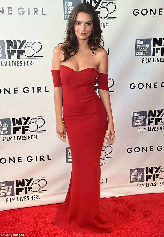 Emily Ratajkowski flaunts an off shoulder red dress at the 'Gone Girl' NYC premiere