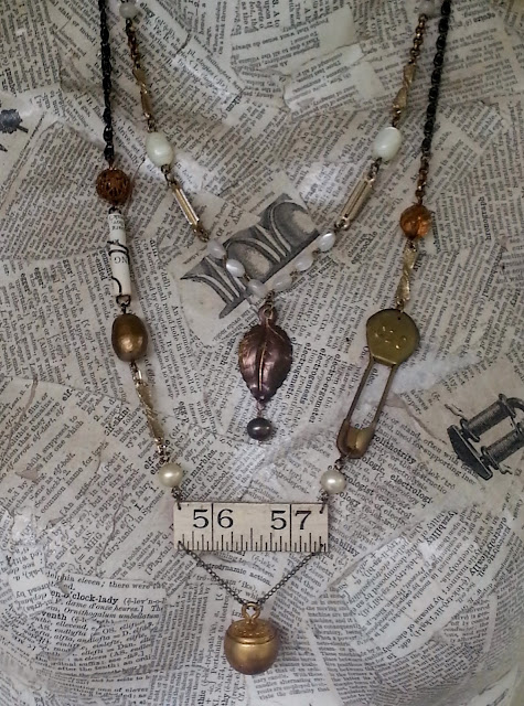 Assemblage necklace with recycled jewelry parts