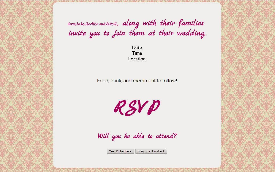 wedding rsvp form main page