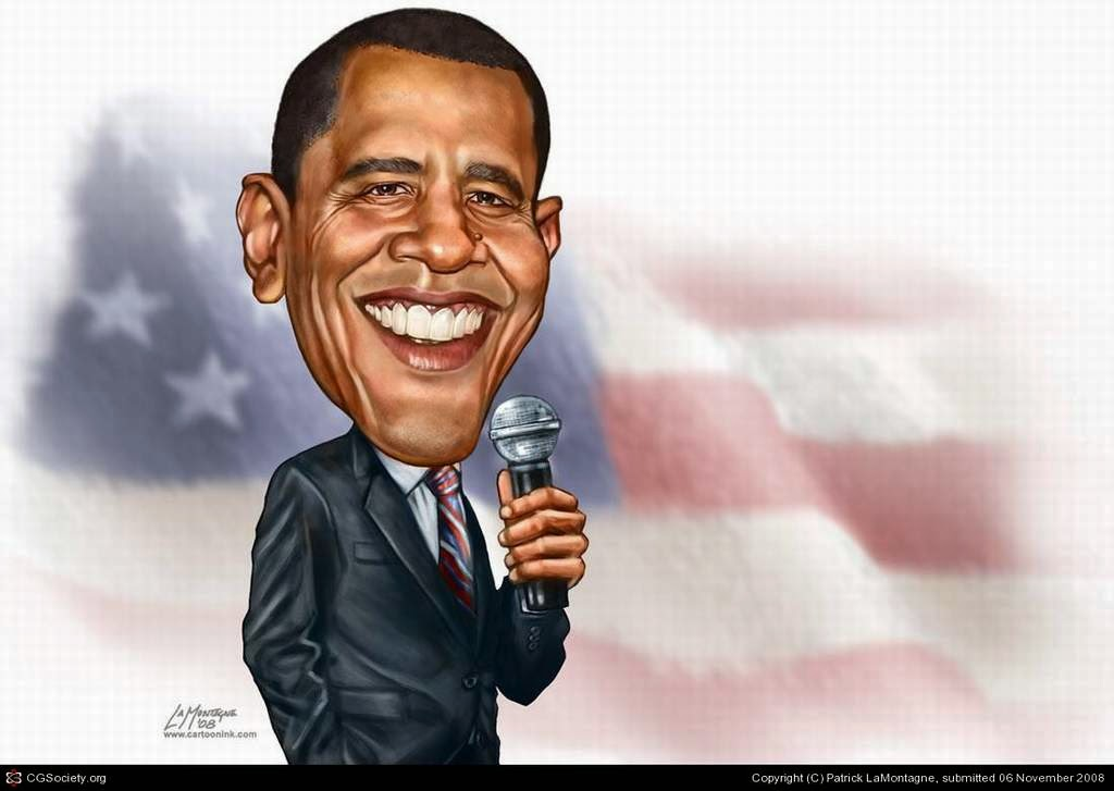 Gambar Karikatur Barrack Obama Presiden Amerika Humor Politik