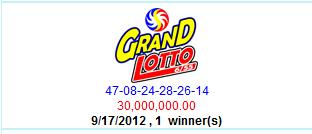 PCSO Grand Lotto Results- September 17, 2012 - PML