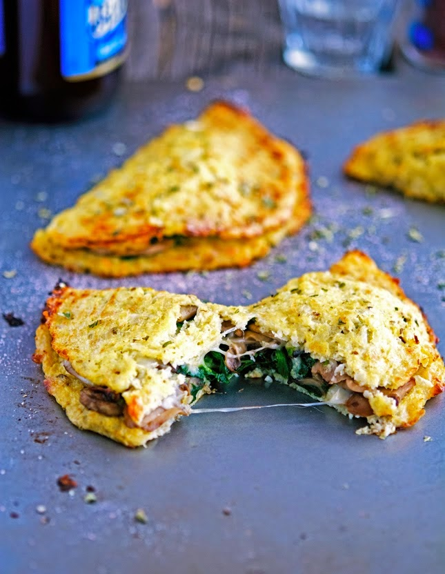 Cheese Mushroom and Spinach Cauliflower Crust Calzone