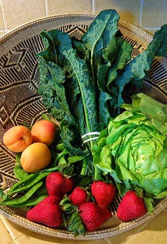 Basket of Dark Kale, green lettuce, orange apricots and red strawberries