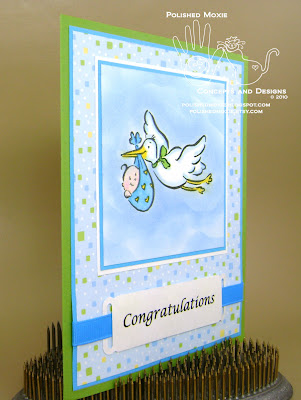 Picture of my stork baby card sitting at a right angle to show dimensional elements