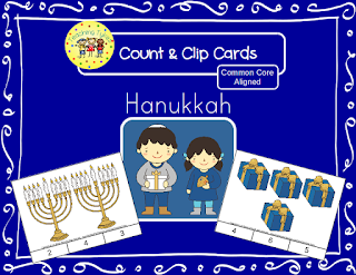 https://www.teacherspayteachers.com/Product/Hanukkah-Count-and-Clip-Cards-1311894