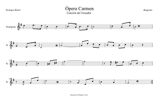 Canción del Toreador partitura, Ópera Carmen de Bizet partitura para Trompeta y fliscorno para tocar con el vídeo Sheet Music for Trumpet and Flugelhorn Toreador Songs Opera by Bizet