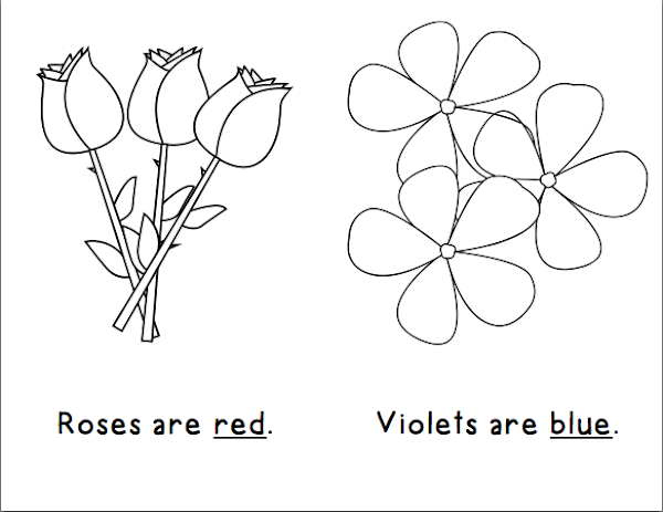 words that rhyme with red, blue & you, and sweet on the correct pages