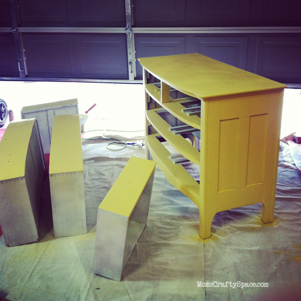 Vintage yellow painted dresser refinish makeover at MomsCraftySpace.com