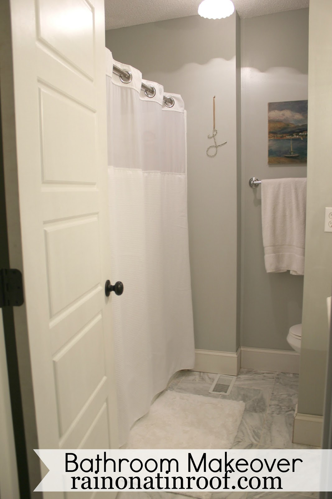 DIY Bathroom Makeover {rainonatinroof.com} #bathroom #makeover #renovation  #re