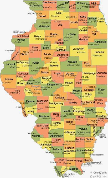 Bright image with illinois county map printable