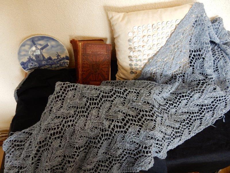 TE KOOP: katoen/linnen. sjaal, lichtblauw.