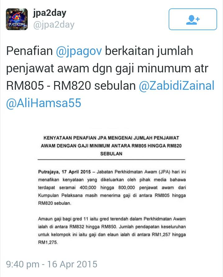 CUEPACS HENTAM BALAS JPA ekoran penafian 400 RIBU PENJAWAT AWAM GAJI RM805