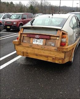 Toyota car made ​​of wood