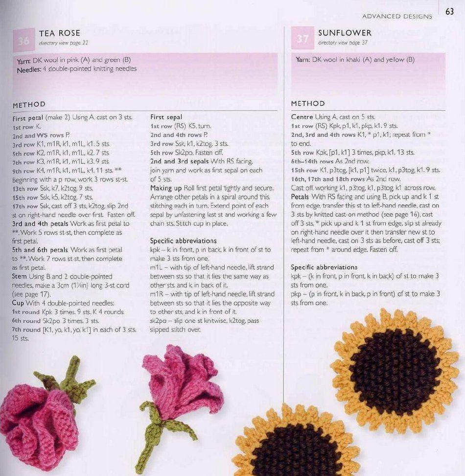 Цветы для вязания спицами с описанием и схемами