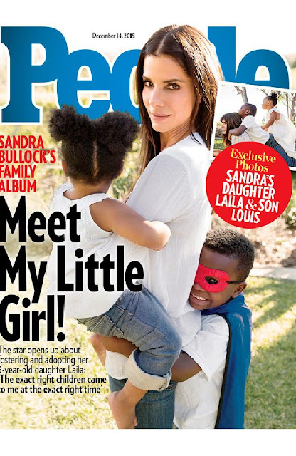 Protector ... Sandra Bullock with new daughter Laila and son Louis, says she wants to protect the girl's privacy. Picture: PeopleSource:Supplied