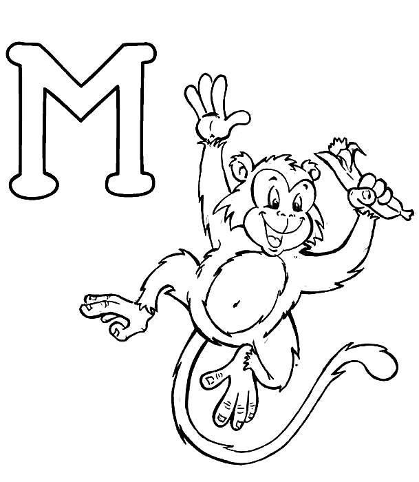 Desenhos Preto e Branco letras do alfabeto letra M Colorir
