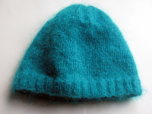 Turquoise Mohair Fluffy Beanie Hat