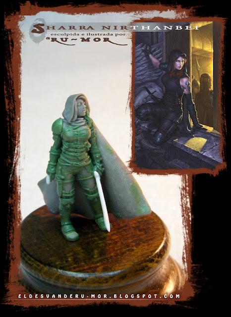 """Miniatura a escala 28mm del personaje de rol de Aventuras en la Marca del Este """"Sharra Nirthanbei"""", esculpida por ªRU-MOR y basado en una ilustración de la misma artista"""