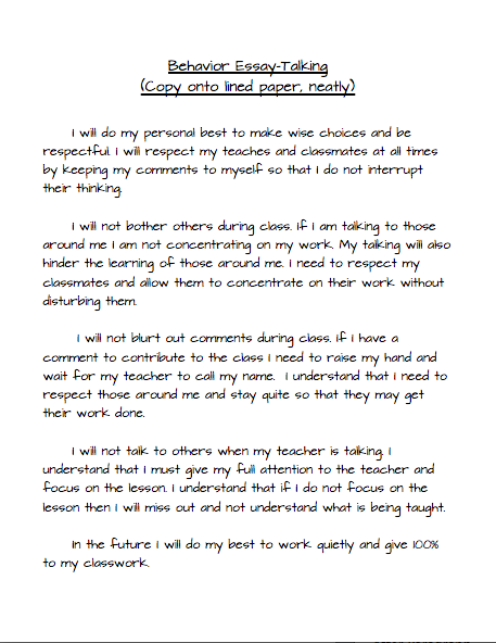Essay on proper behavior in classroom