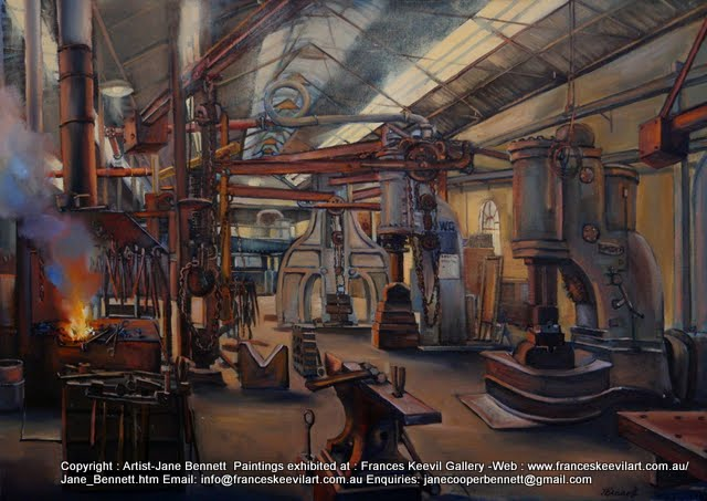 oil painting of Blacksmiths at the forge Eveleigh Railway Workshops by artist Jane Bennett