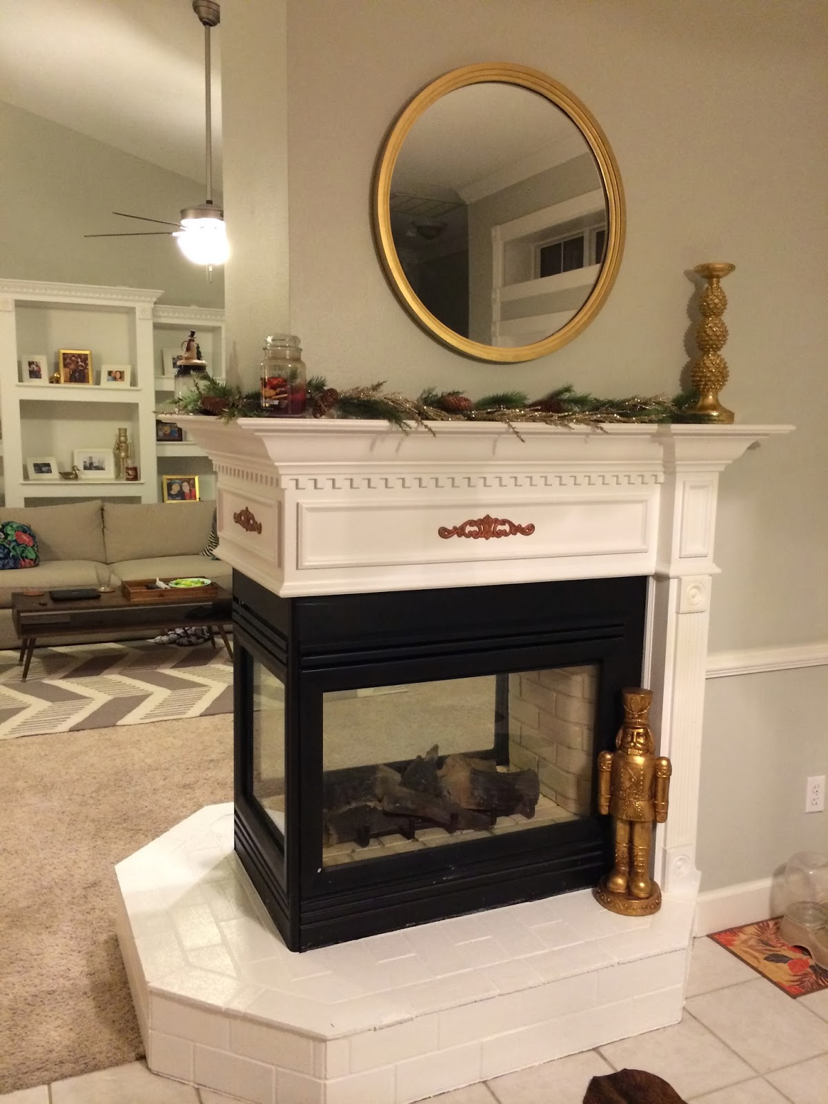 decorating a 3 sided fireplace for christmas fabulously vintage