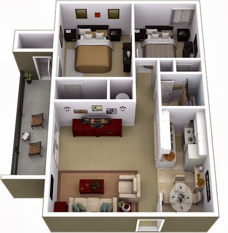 Departamentos peque os planos y dise o en 3d construye for Plano de pieza cocina y bano