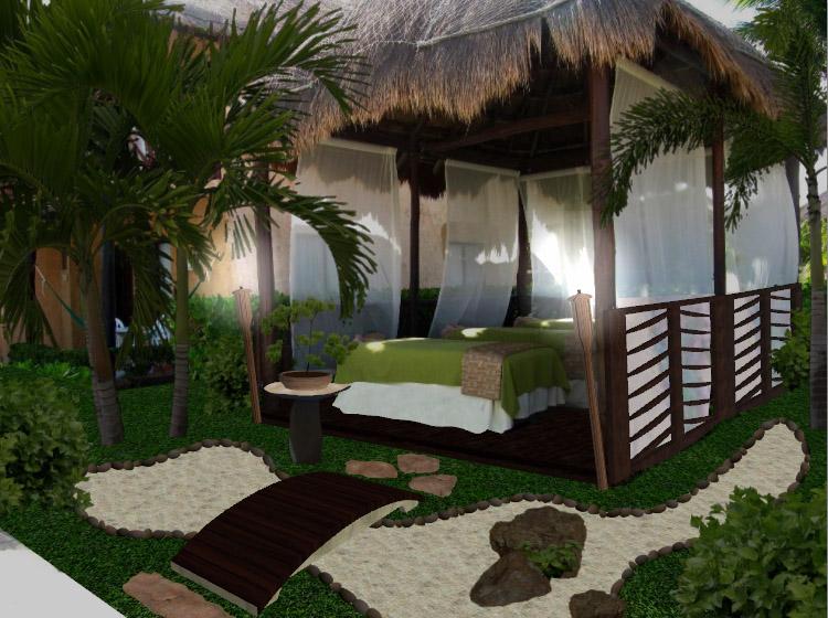 Dise o de jardines peque os spa hotel allegro playa del for Como hacer una laguna artificial