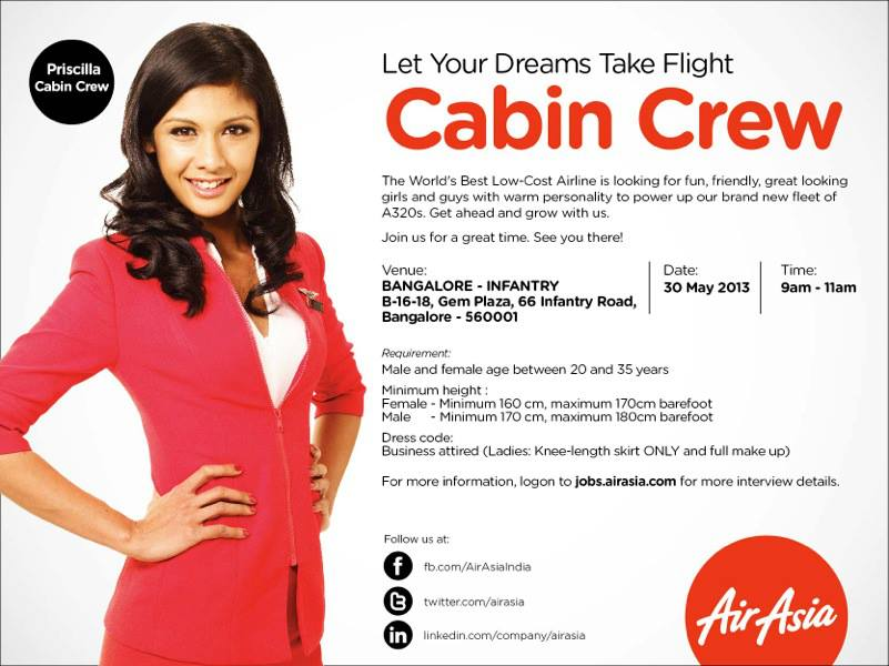 Fly gosh air asia india cabin crew walk in interview for Cabin crew recruitment agency philippines