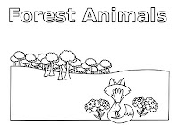 Fox and forest animals  coloring book by Robert Aaron Wiley for Microsoft Office Online