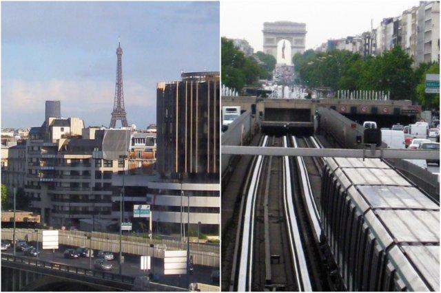 Pasaje de la línea 1 del metro en el puente Pont de Neuilly y vistas de la Torre Eiffel al fondo, Paris - Metro de la línea 1 sobre el Pont de Neuilly en dirección a Charles de Gaulle, Etoile. Al fondo, el Arco de Triunfo en Paris