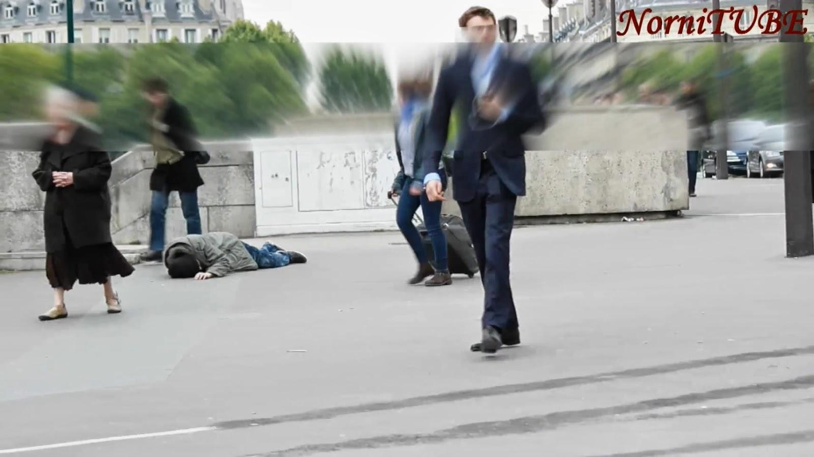 貌似遊民的男子倒下無人搭理