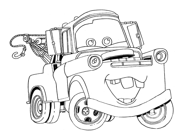 6 free printable disney cars tow mater coloring pages for Cars coloring pages free printable