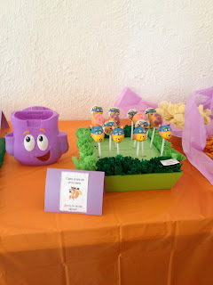 swiper cake pops , dora the explorer cupcakes, boots cupcakes, backpack cupcakes
