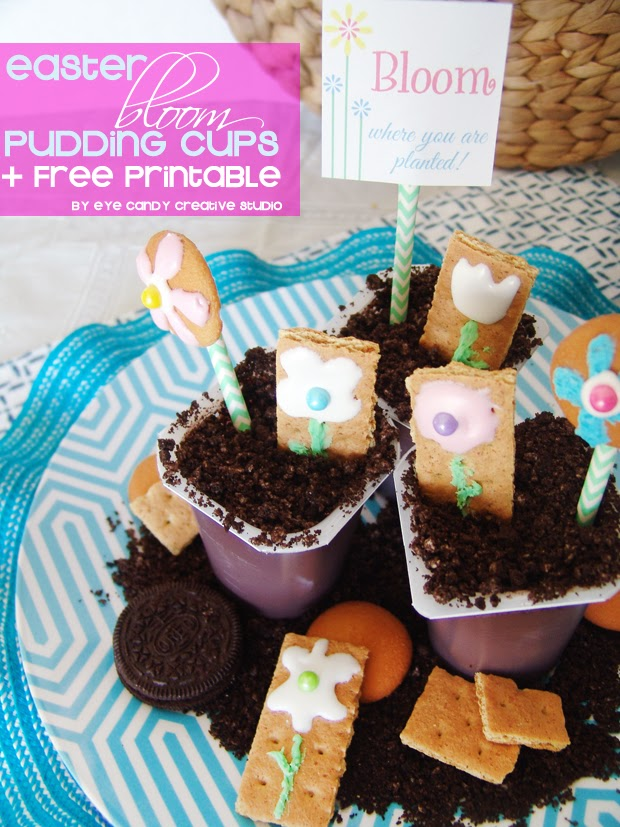 easter pudding cups, snack pack, easy to make desserts, easter dessert