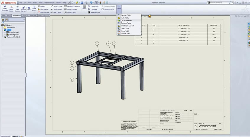 Comsolidworks Design Table : How to create a Simple Table with SolidWorks Weldments (From Youtube ...