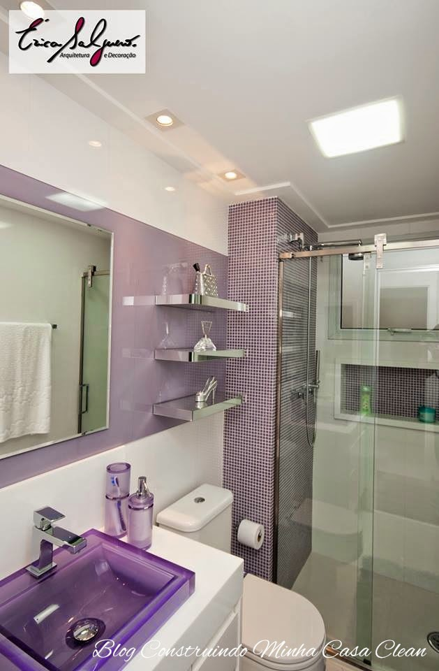 Construindo Minha Casa Clean Banheiros e Lavabos Pequenos!!! Saiba como Deco -> Banheiros Decorados Lilas