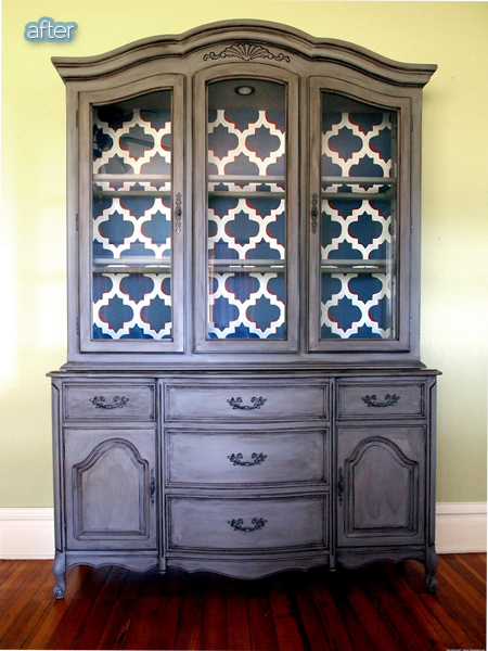 How much hutch better after for Painted dining room hutch ideas
