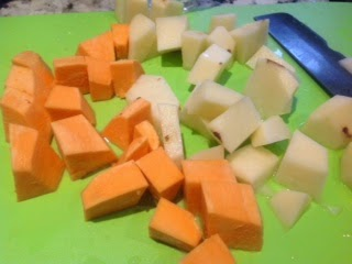 cut up sweet potato and white potato