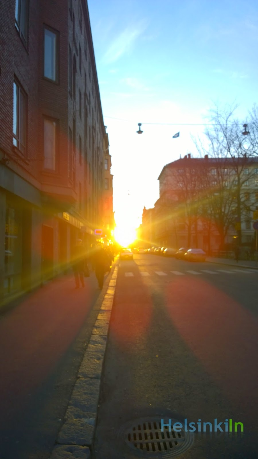 Bight light in the streets of Helsinki