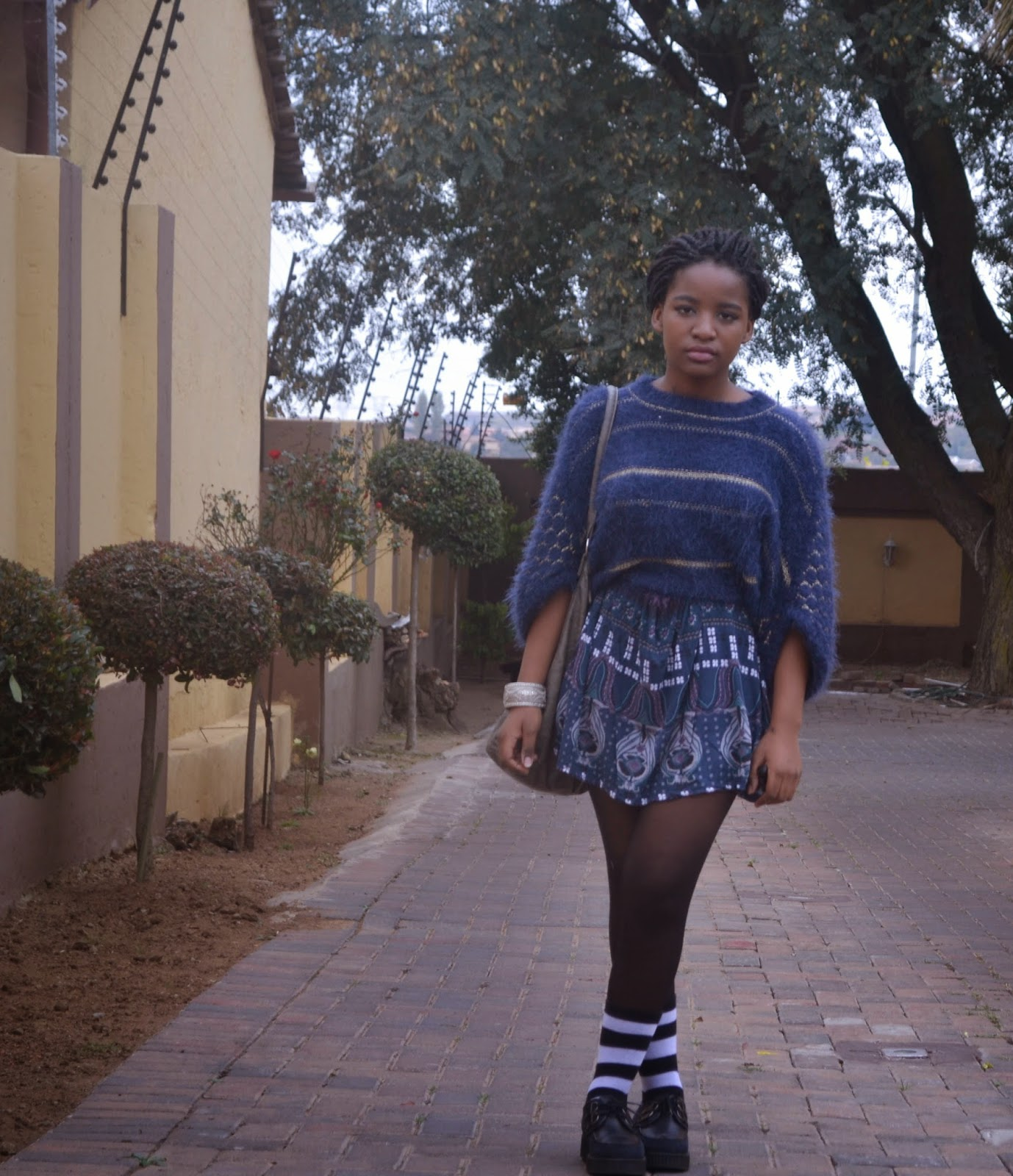 indigo jersey over blue printed dress socks over tights