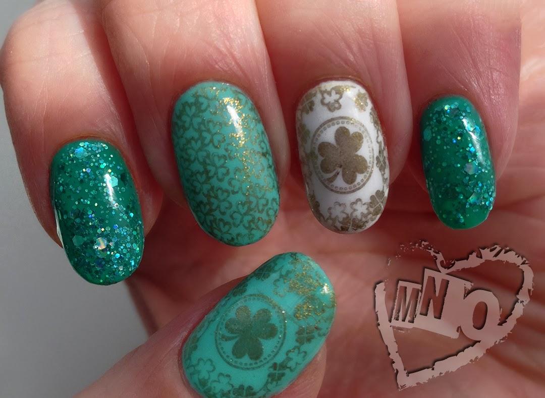 Nail Design Art St. Patty's Patricks Day Stamp stamping Gel Green Gold Clover