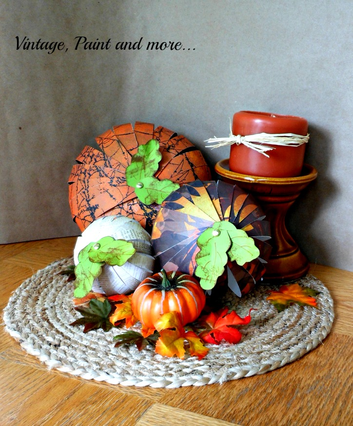 Vintage, Paint and more... pumpkins made from strips of scrapbook paper
