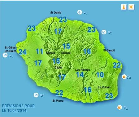 Prévisions météo Réunion pour le Mercredi 16/04/14