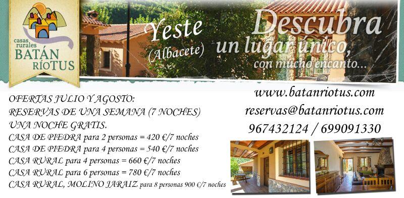 Casas rurales batan rio tus en yeste albacete ofertas for Oferta alquiler casa piscina agosto