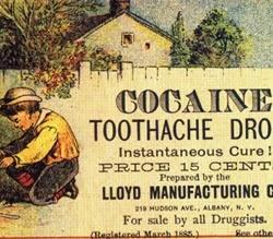 Propaganda de drops de cocaína em 1885: promessa de combate às dores.