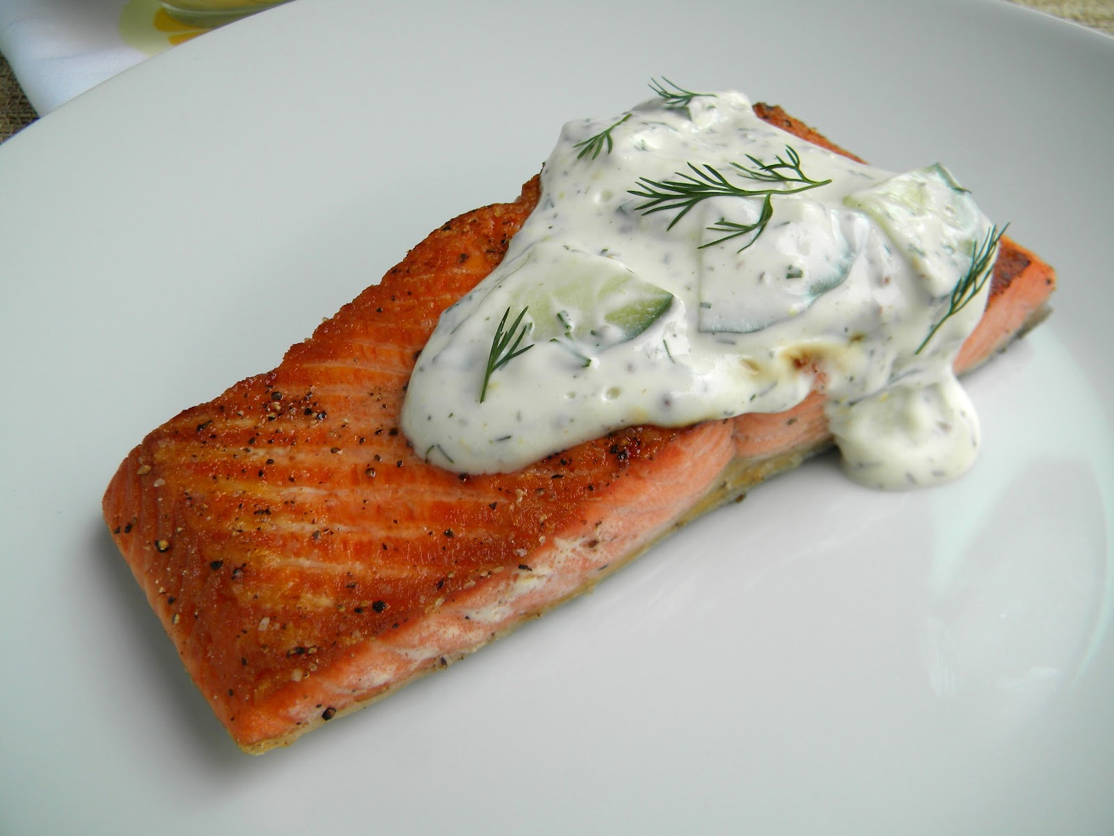 Salmon with Creamy Cucumber Sauces