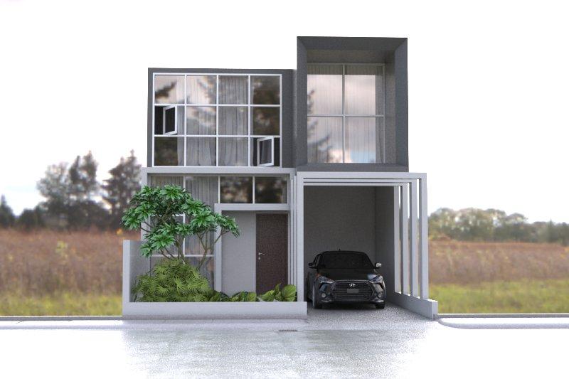 Desain rumah 7 x 13 rumah 2 lantai minimalis modern 2 kamar tidur bentuk kotak