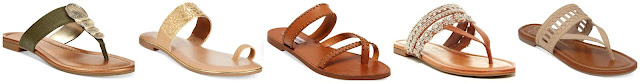 Alfani Harlquin Flat Thong Sandals $23.70 (regular $39.50)  Bar III Vienna Flat Toe Thong Sandals $29.70 (regular $49.50)  Steve Madden Aveery Flat Sandals $36.22 (regular $69.00)  Jessica Simpson Ralana Flat $44.97 (regular $69.00)  Jessica Simpson Ridgely Woven Flat Thong Sandals $69.99 (regular $79.00)