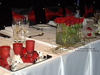 Centros de Mesa en Blanco y Rojo, parte 1