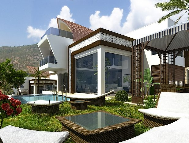 Yeni trend bahçeli havuzlu duble trıblex lüx yeni villa modelleri